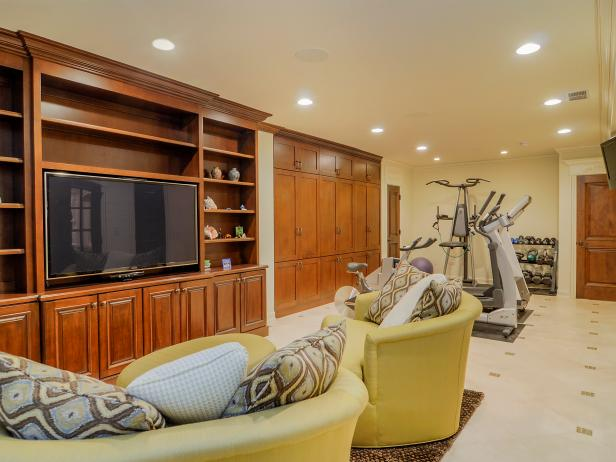 Basement Doubles as Media Room and Home Gym