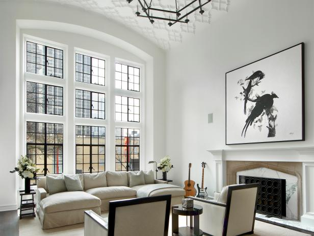 Contemporary White Living Room With Bird Art