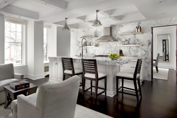 White Transitional Open Plan Kitchen With Coffered Ceiling