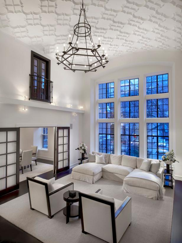 White Contemporary Loft Living Room and Iron Chandelier