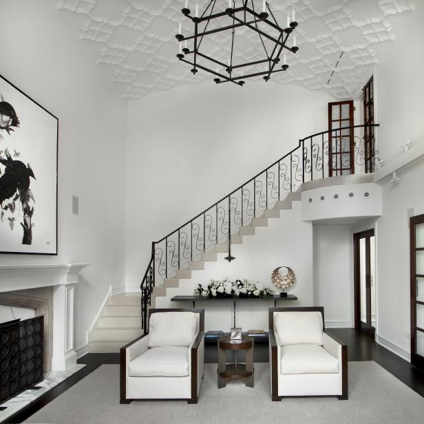 White Stairwell and Armchairs