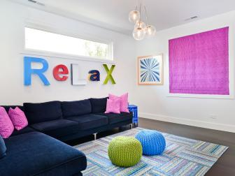 Multicolored Modern Living Room With Pink Art