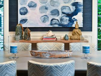 Dining Room Features Varying Textures & Shades of Blue