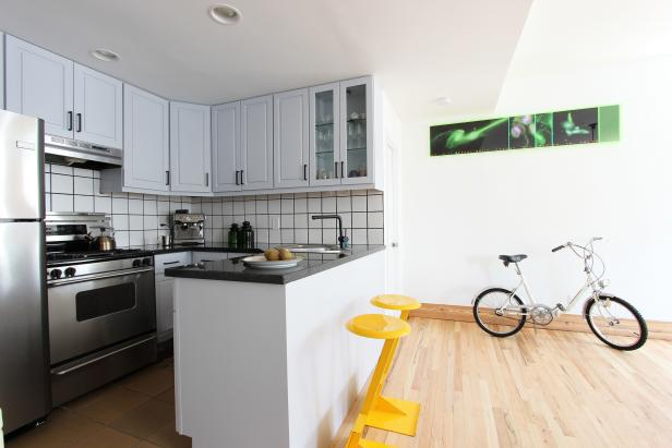 Yellow Stools Pop in Modern Black & White Kitchen