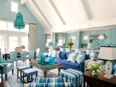 Open Plan Transitional Living Area With Blue Sofa