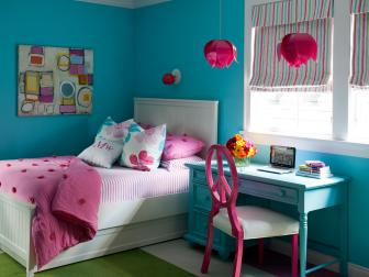 Blue Transitional Girl's Bedroom With Pink Pendant Lights