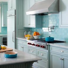 Blue Transitional Kitchen With Blue Subway Tile Backsplash