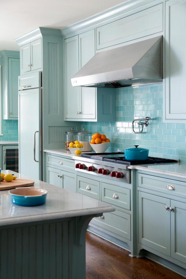 Blue Transitional Kitchen With Blue Subway Tile Backsplash