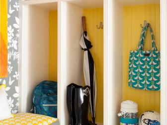 Yellow and White Contemporary Mudroom With Baskets
