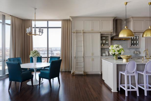 Neutral Urban Open Plan Dining Area With Blue Chairs
