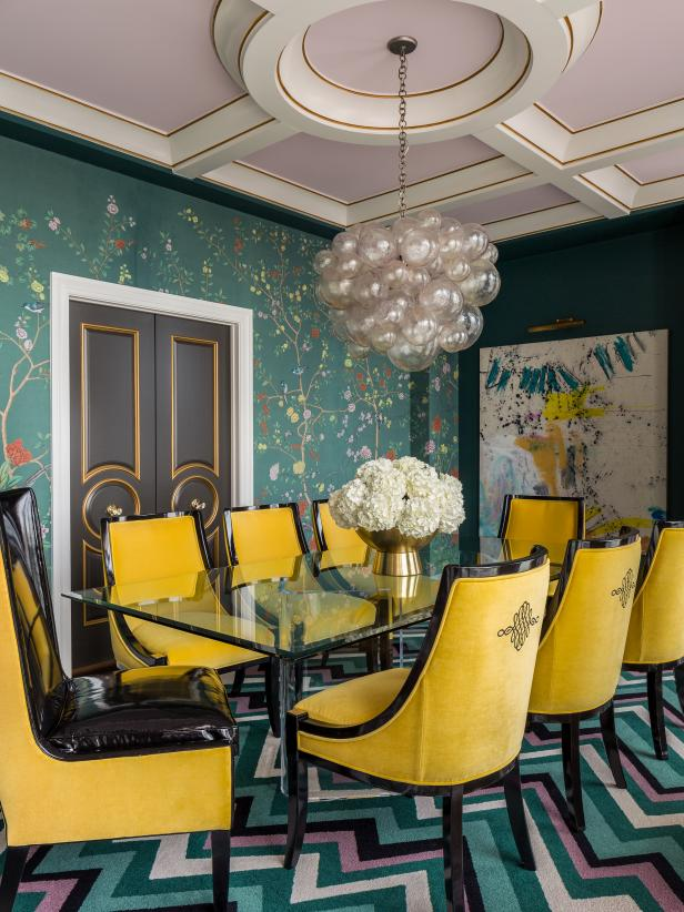 Multicolored Eclectic Dining Room With Art Deco Flair