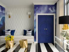Blue and White Eclectic Entry With Striped Floors