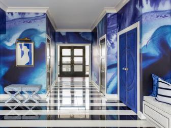 Blue Modern Foyer With Black and White Striped Floor