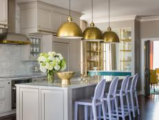 Neutral Transitional Kitchen With Lavender Barstools