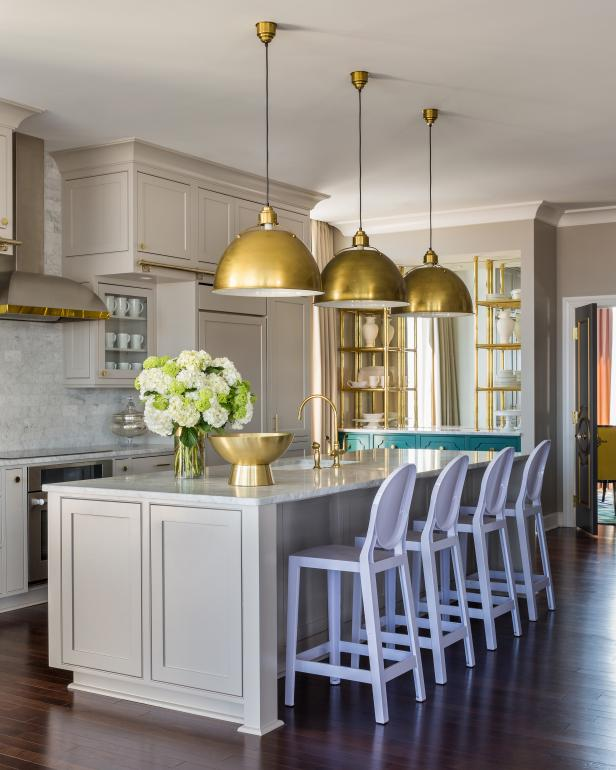 Cream and Brass Kitchen From Designer Tobi Fairley - HGTV Photo LIbrary