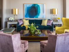 Contemporary Living Room With Purple Chairs