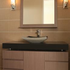 Modern Vanity With Smooth Finishes & Contrasting Black Countertop
