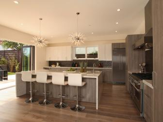 Beautiful Modern Kitchen With Neutral Tones and Funky Pendant Lights