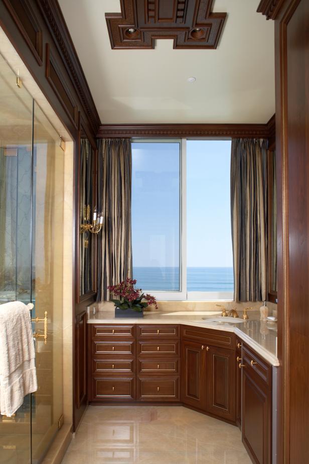 Quot His Quot Bathroom With Dark Wood Details Hgtv