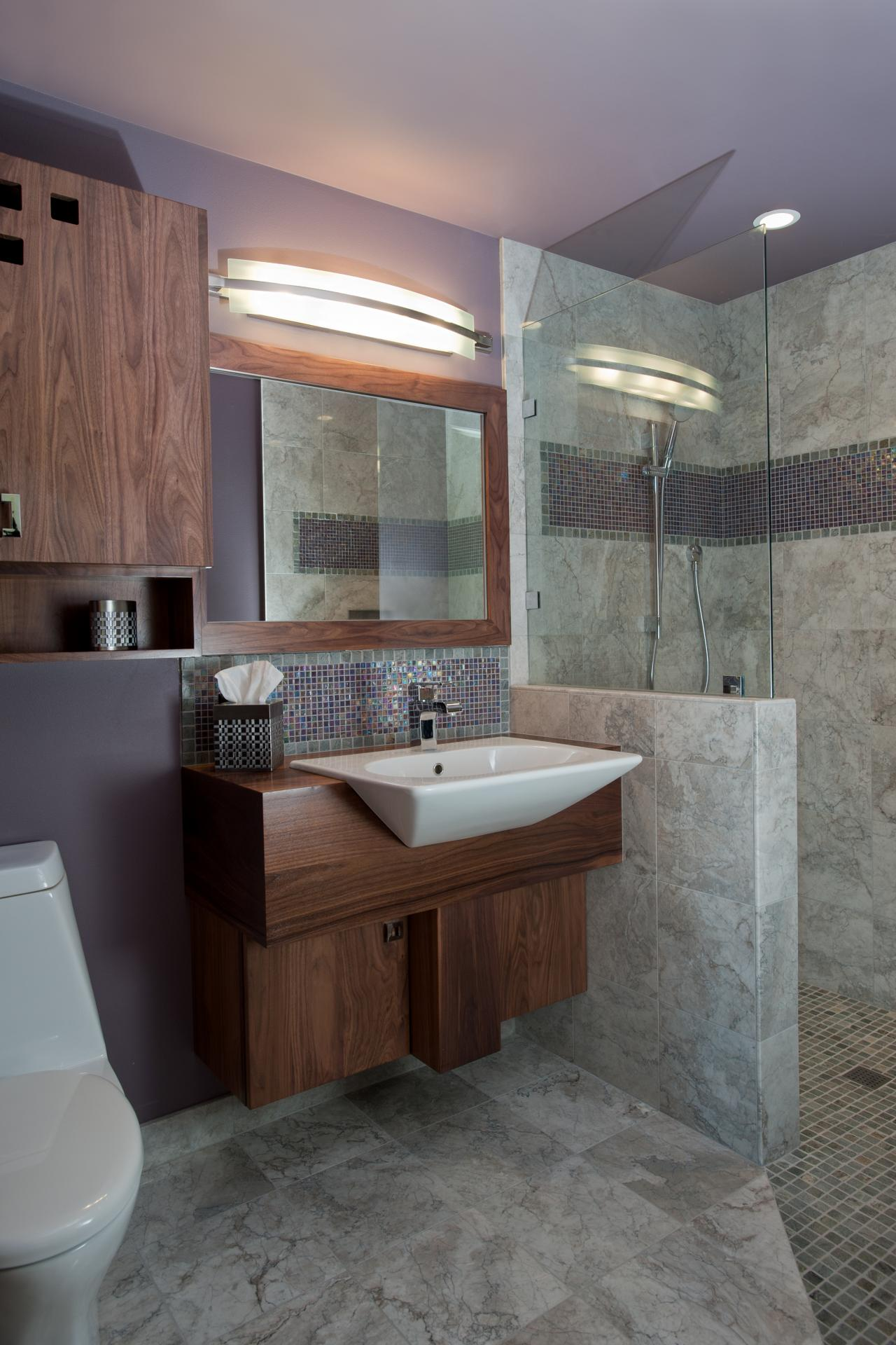 Lavender midcentury modern bathroom with gray marble tile Contemporary bathrooms