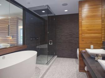 Gray Modern Bathroom With Soaking Tub