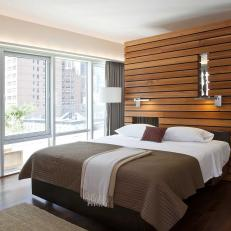 urban modern bedroom with wood slat partition wall