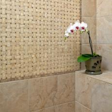 shower with basketweave tile
