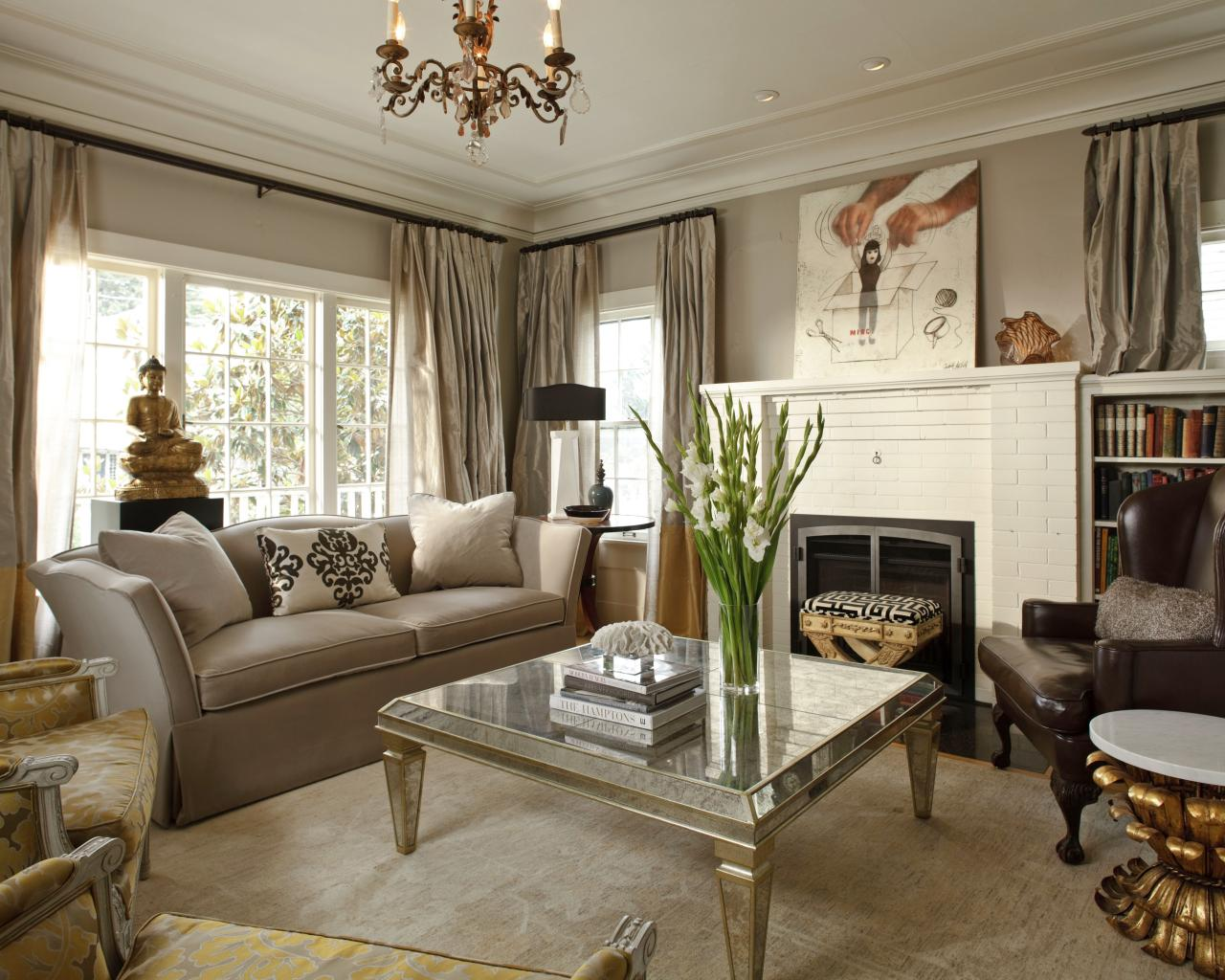 traditional living room with metallic coffee table