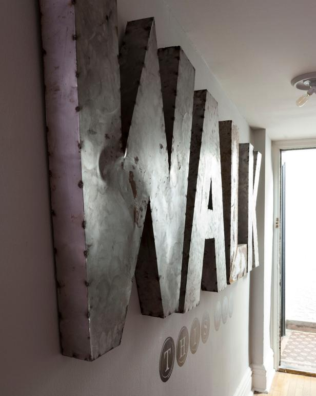 Large Metal Letters For Wall Large Metal Letters On Wall In Neutral Hallway