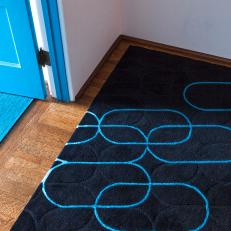 Navy And Cobalt Blue Geometric Rug Adds Youthful Touch