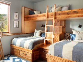 Blue Country Bedroom With Loft