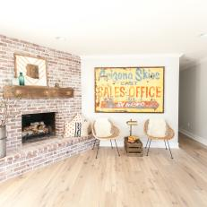 Large Brick Fireplace With Raw-Edge Mantel