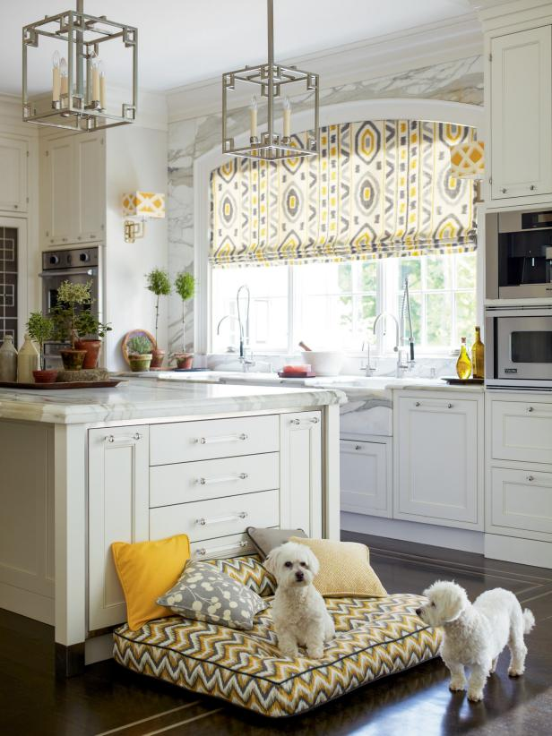 White Kitchen Pops With Gray and Yellow Patterns