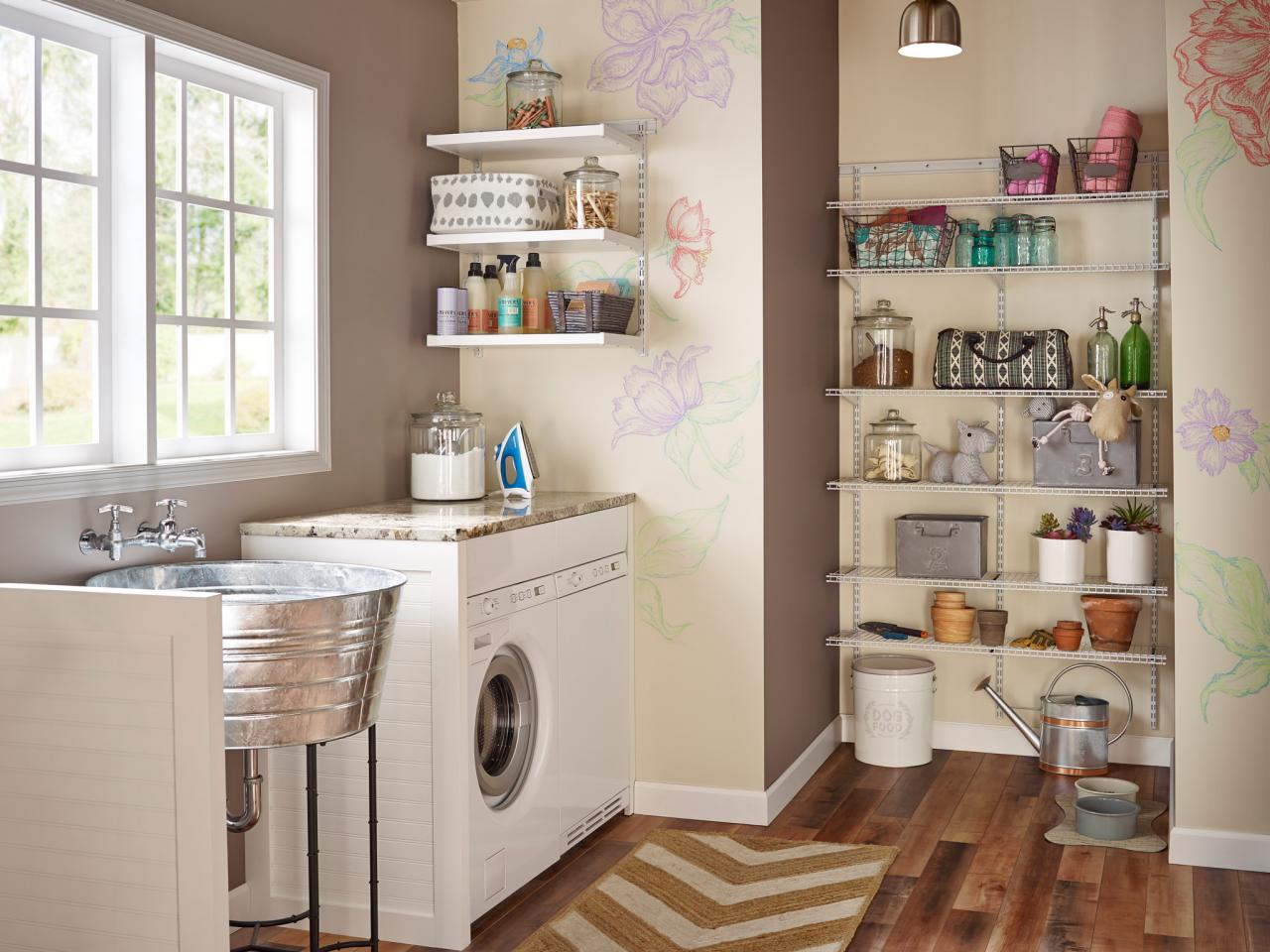 10 clever storage ideas for your tiny laundry room hgtvs add shelving to unused corners amipublicfo Image collections