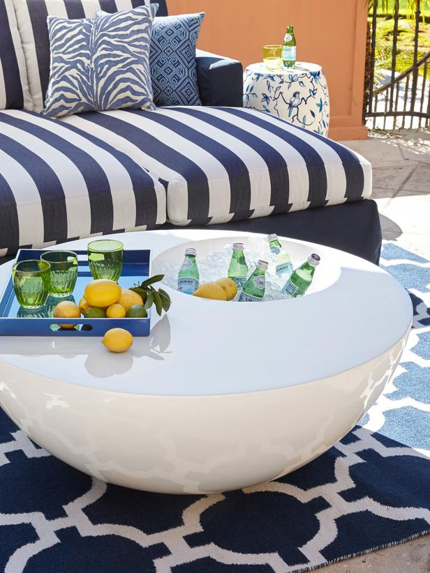 Outdoor Table With Beverage Storage