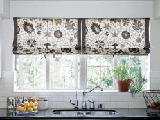 Patterned Roman Shade in White Kitchen