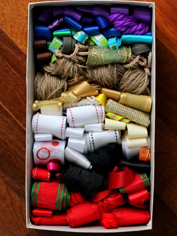 Ribbons Stored Neatly in Shoebox