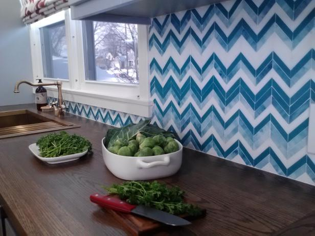 Blue and White Tile Chevron Kitchen Backsplash