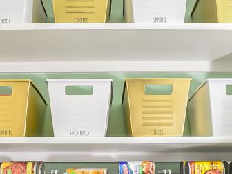 Gold and White Bins in Organized Pantry