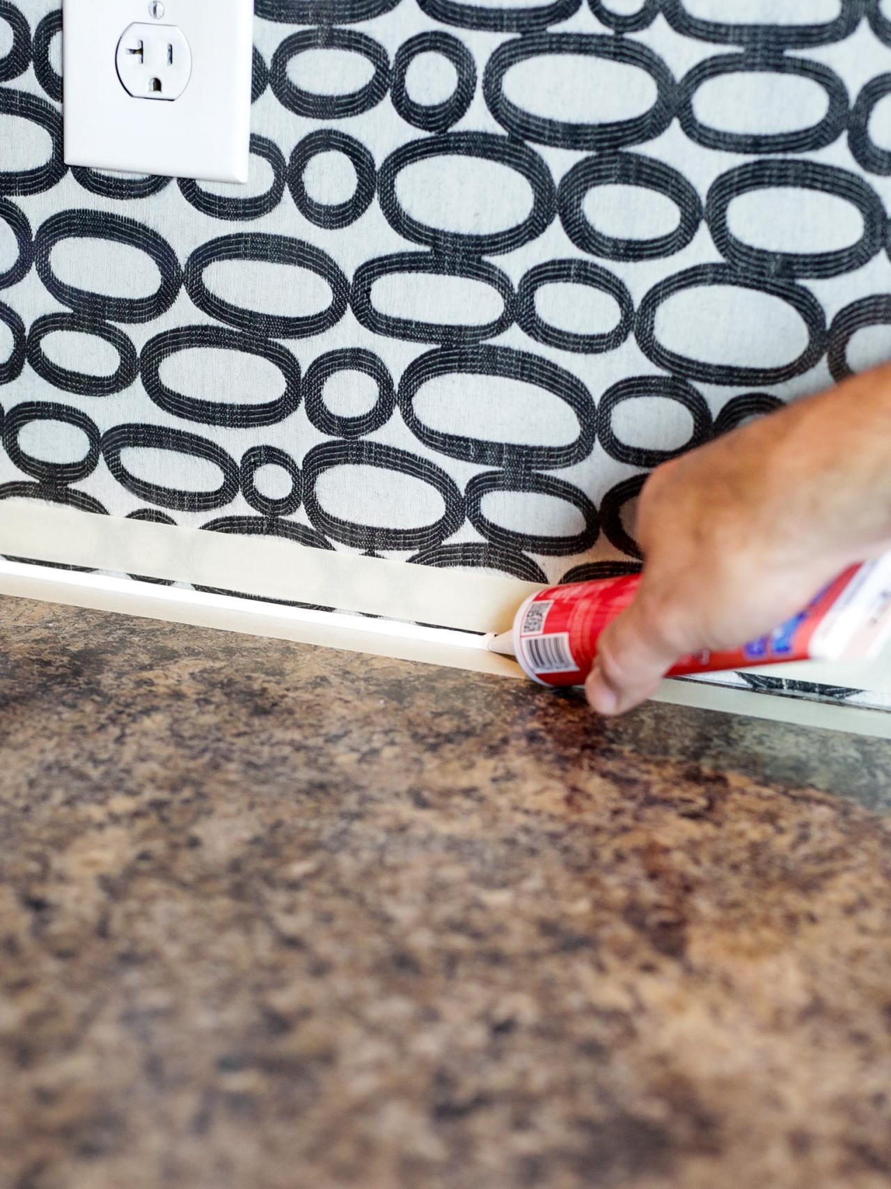 diy acrylic and fabric kitchen backsplash finish with clear caulk - Caulking Kitchen Backsplash