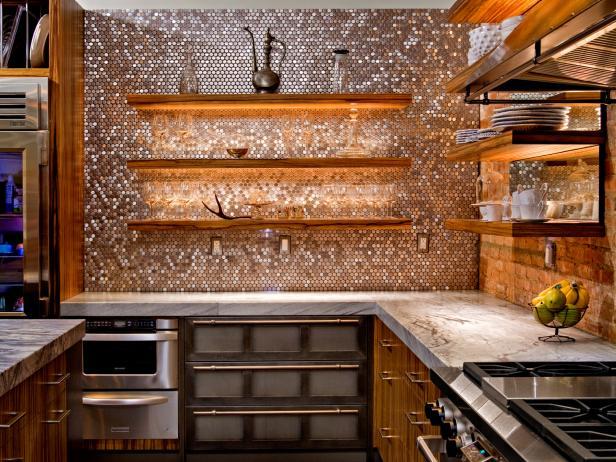 Modern-Rustic Kitchen With Penny Tile Backsplash
