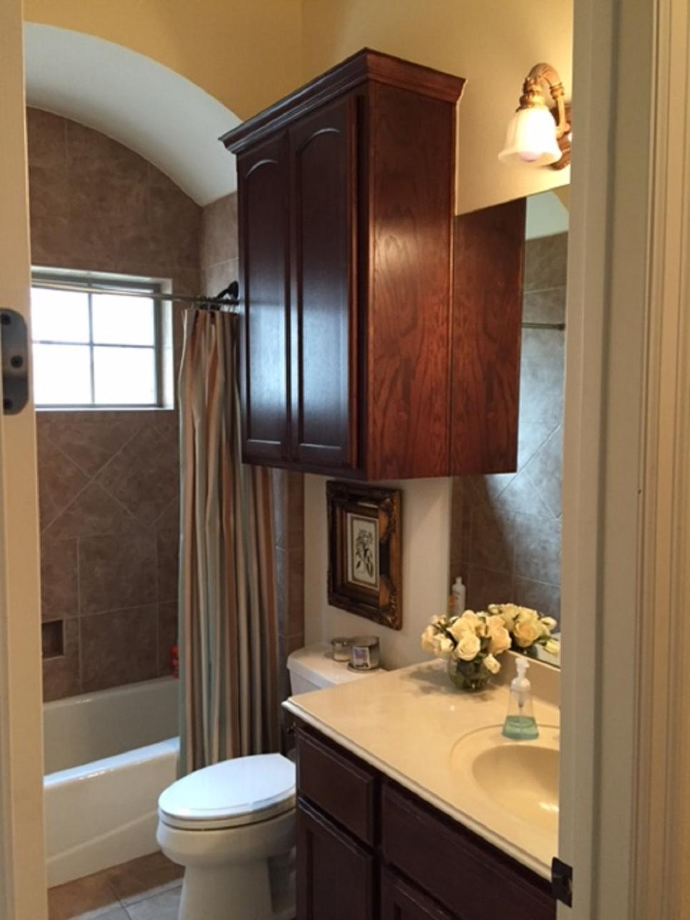 Before and after bathroom remodels on a budget hgtv for Average cost for small bathroom remodel