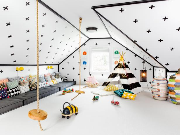 Dream Playroom Features Teepee, Rope Swings and Floor Cushions