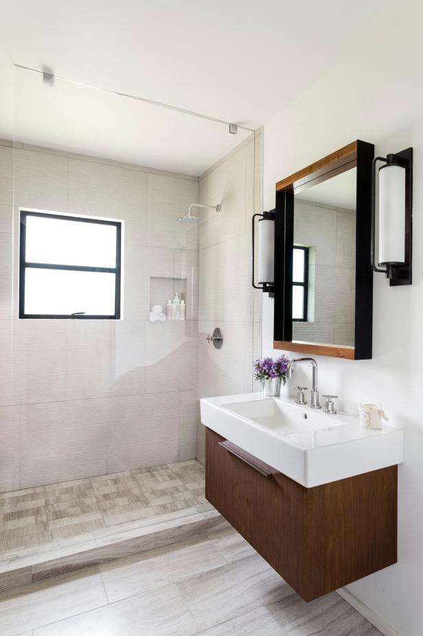 BeforeandAfter Bathroom Remodels On A Budget HGTV - Flip flop bathroom decor for small bathroom ideas