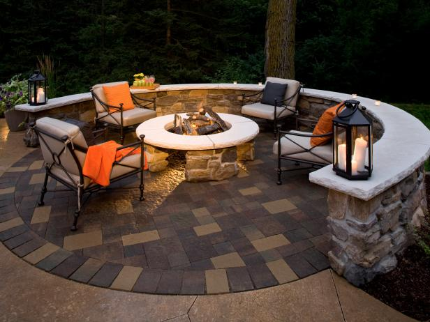 Fire Pit and Paver Patio on the Edge of the Woods