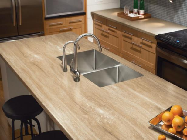 Bathroom Countertop Surface Options : Travertine-Look Solid Surface Kitchen Countertop