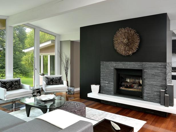 Modern Fireplace With Stone Veneer Surround