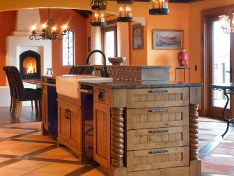 Orange Country Kitchen With Alder Wood Cabinetry