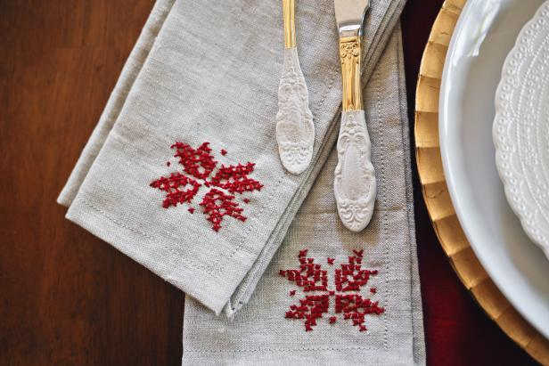 Cross-Stitched Poinsettia Napkins