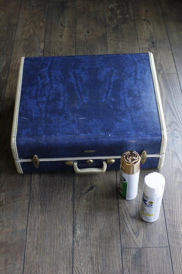 DIY Metallic Gold Suitcase